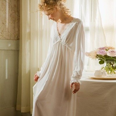 Nightgown Woman Spring Sexy V Neck Sleepwear Dress Pregnant Woman Nightgown Nightdress White