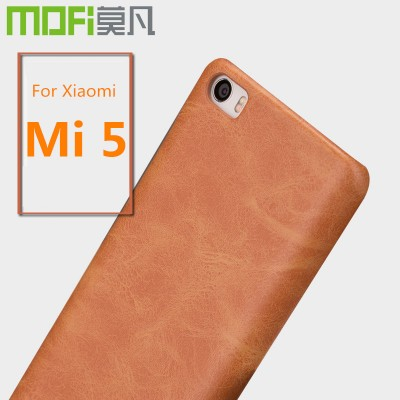 Xiaomi mi5 case MOFi original PU leather hard back cover xiomi mi5 cover phone case coque capa funda business brown navy 5.15""