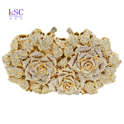 LaiSC Gold Silver Evening Bag Rose Flower Holiday Party Clutch Purse Crystal Bag Stylish Day Clutches Prom Ladies Handbag SC427
