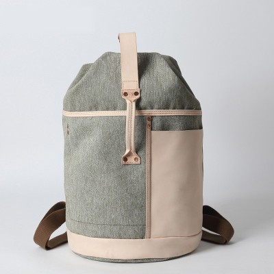 Men canvas backpack Large Capacity Travel Women Pepper Salt Canvas Backpack Italy Vegetable Tanned Leather Bag