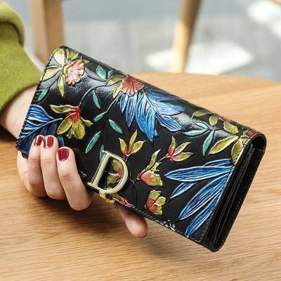 Ladies Genuine Leather Wallet Women Fashion Rose Flower Wallets Luxury Brand Coin Purse Female Clutch 3 Fold Cowhide Long Wallet