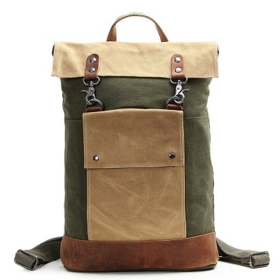 36-55 Litre Genuine Leather Backpack Men Oil Canvas Backpack Men Vintage Men Canvas Backpack