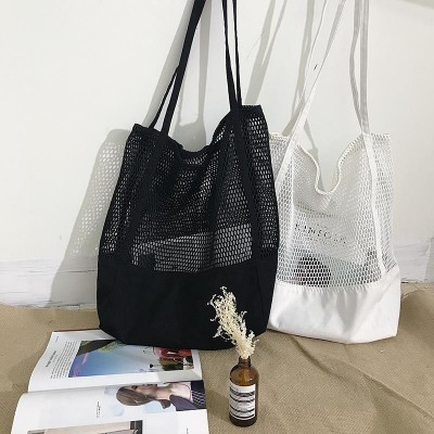 New Pattern Korean Grid Handbag Mesh Hollow Out Sandy Beach Package Canvas Single Shoulder Woman Bag