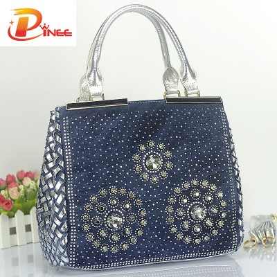 Rhinestone Handbags Designer Denim Handbags Fashion Women Handbags Designer Diamond Decoration Denim Tote Luxury Ladies Bags Big Travel Shoulder Bag