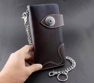 Genuine Leather Mens Biker Rock Punk Gothic Wallet Purse W Key Chain Brown