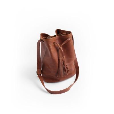 2019 Real New Women Haversack Bags String Linen Womens Handbag Handmade Cowhide Bucket Bag Messenger Shoulder Tassel Rope 8857