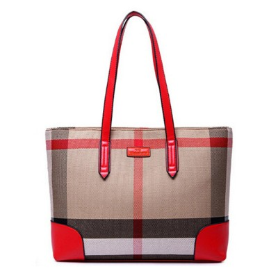 2019 New Brand Large Capacity Tote Bag England Style Plaid Women Leather Handbags Fashion Simple Design Shopping Shoulder Bags