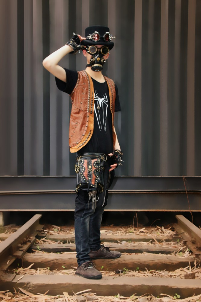 Custom Steampunk Thigh Waist Belt Bag Vintage Steampunk Leg Bag Shoulder Crossbody Backpack Multifunctional Bag