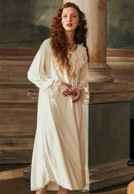 Nightgown Ladies Retro Sleepwear Dress Elegant Homeweare Women Autumn Winter 2019 Long-sleeved Long Nightdress