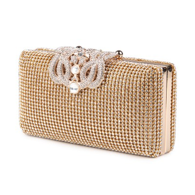 Women Evening Bags Rhinestones Metal Crown Handbags Full Of Diamonds Day Clutches Purse Evening Bags Silver/gold/black