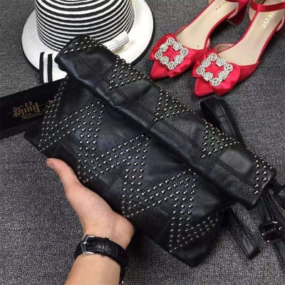 Genuine leather Women Rivet envelope clutch bag fashion ladies evening bag Handbag Shoulder Bag female Messenger Bag Clutch