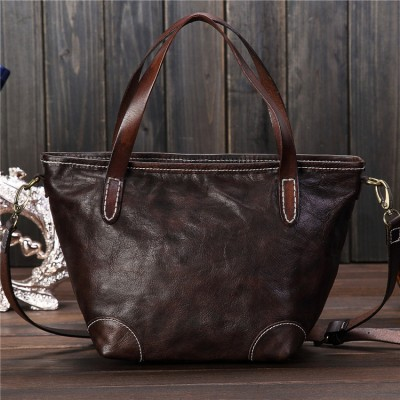 2019 new women oil wax genuine leather fashion bag retro Hobos bag shell bag hand diagonal package crossbody Shoulder Tote bag