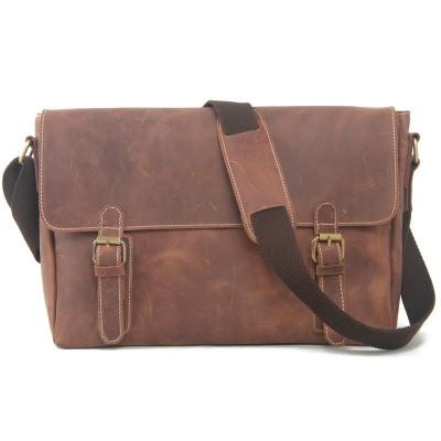 Vintage Genuine Leather Men Shoulder Bag Crazy Horse Leather Men's Messenger Bag Casual Men Crossbody Bag IPAD Bag