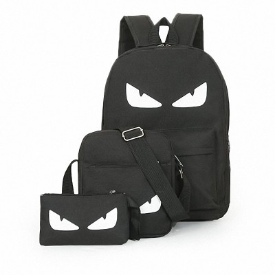 3PcsSets Womens Man Luminous Black Backpacks Canvas School Book Bags Computer Backpack women student bag Large capacity mochila
