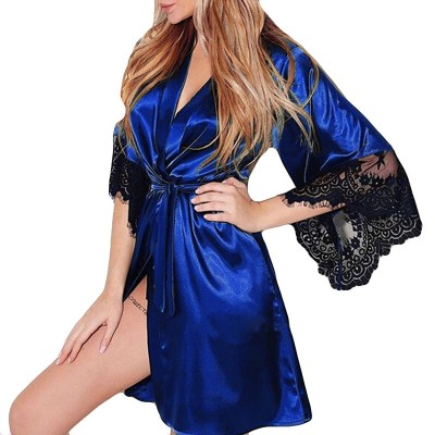 Women Sexy Faux Silk Night Gown Kimono Lingerie Belt Lace Bath Robe Nightwear Nightdress Sleepwear Nightgown Bridesmaid Robes #D