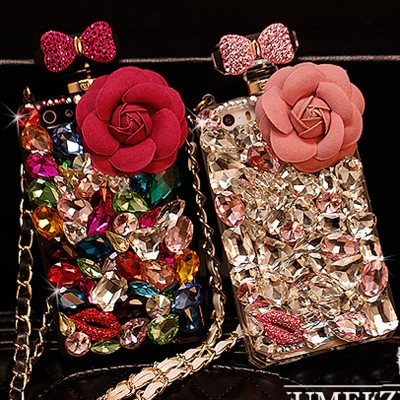 cartoon phone cases Luxury Lanyard 3D Flower Diamond Case Rhinestone Crystal Bling Cover Fundas Coque Capa Para for iPhone 6s 6 plus 5S 5 5C 4S 4 cartoon cases