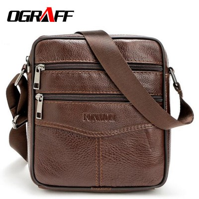 OGRAFF Men messenger bags luxury genuine leather men bag designer high quality shoulder bag casual zipper office bags for men