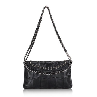 HOT Women Genuine leather (TOP layer) real Sheepskin handbag Soft Black Retro chains shoulder crossbody Messenger bag Fashion