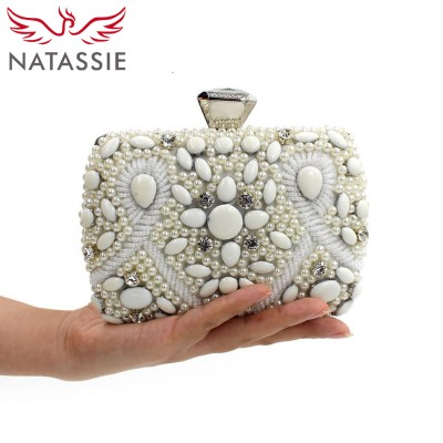 NATASSIE Wedding Clutches Women Luxury Clutch Bags Elegant Evening White Bridal Purses Beaded Bags Designer Handbags