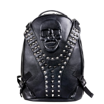 2015 Fashion Leisure Men's Travel Bags Male 3D Skull Bag Vintage Backpacks for Teenagers Casual Leather Men Backpack