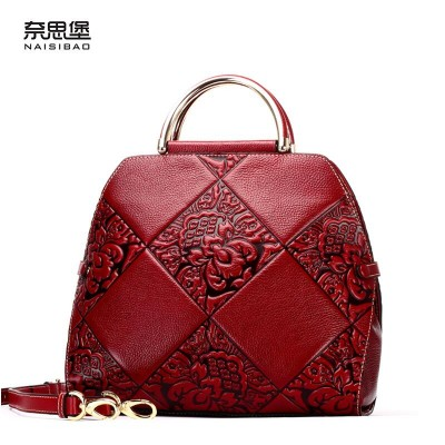 NAISIBAO New women Superior cowhide leather bag fashion Embossing quality luxury Tote women leather handbags cowhide shell bag