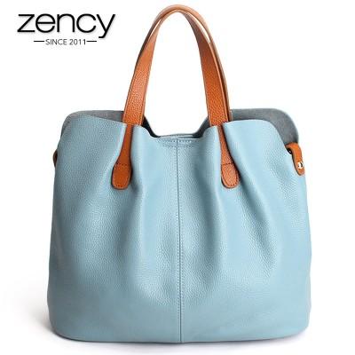 2019 Summer Women Handbag Genuine Leather Tote Shoulder Bag Bucket Ladies Purse Casual Shopping Bag Satchel Capacity Tote Bolsos