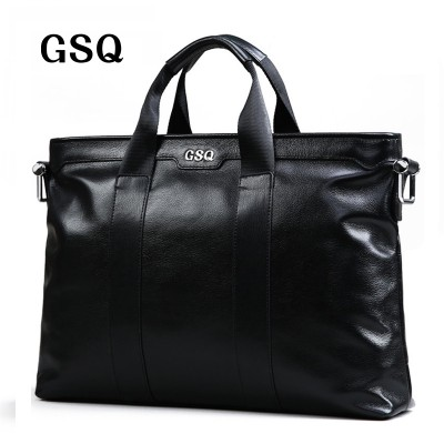GSQ Genuine Leather Men Handbag Classic High Quality Leather Zipper Style Business Men Bag 14inch Laptop Briefcase Messenger Bag