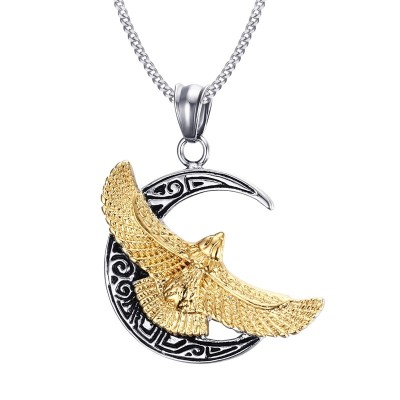 Mprainbow Mens Necklaces Stainless Steel Vintage Military Gold Flying Eagle Wing Moon Pendant Choker Punk Bike Jewelry
