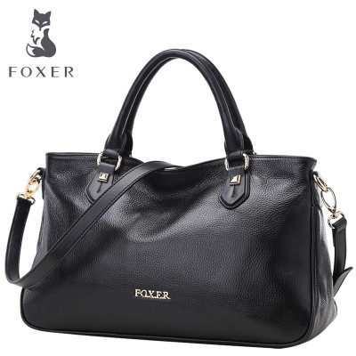 FOXER women handbag genuine leather bag fashion tote shoulder bags designer handbags women messenger bags vintage wristlets