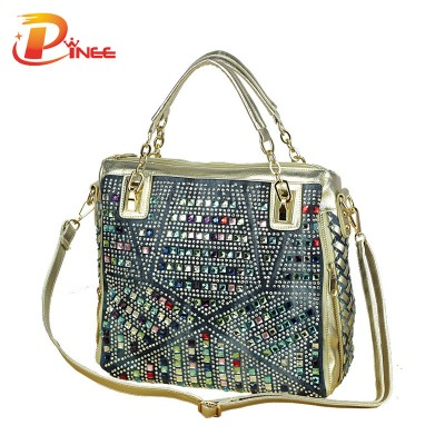 Rhinestone Handbags Designer Denim Handbags fashion brand luxury bag designer handbags high quality gold diamante woven denim bags