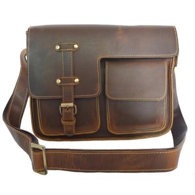 Men's Vintage genuine leather shoulder bag Brown cow leather school bag crazy horse leather messenger bag buckle flap
