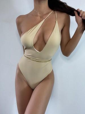 Sexy One Shoulder Lace Up One Piece Swimsuit 2021 Women Swimwear Female Bather Wrap Around Bathing Suit Swim Wear