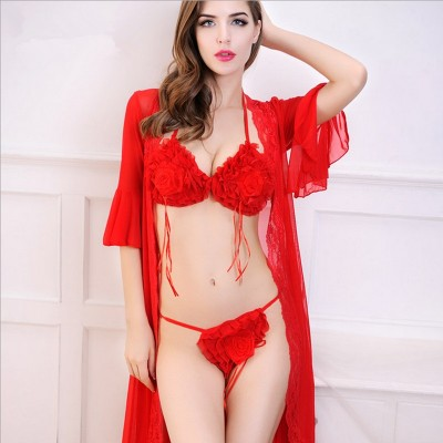 2019 women sexy sets lace robe black red color rose flower with bra and underwear top quality for ladies