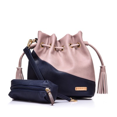 Splicing blue brown gray black Contrast color women's bucket messenger shoulder crossbody bags for ladies female bolsa feminina