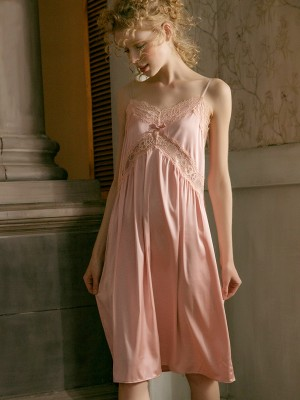 Elegant Sleeveless Nightgown Lingerie Summer Night Skirt Woman Sexy Sleepwear Ice Silk Satin Pink White Nightwear Women