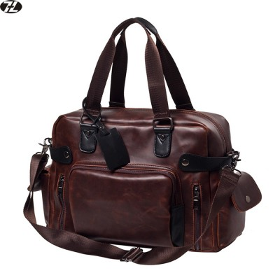 carzy horse leather men travel bag high quality duffel bag vintage large men messenger bags casual men crossbody shoulder bag