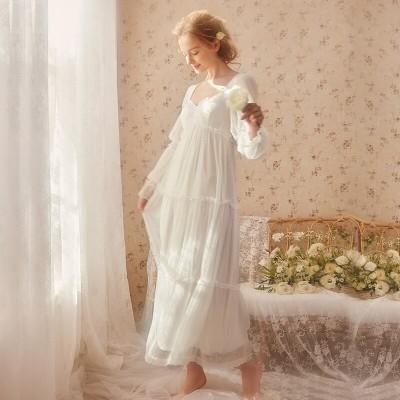 Nightgown Woman Spring Summer Long Dress Lace Women Fairy Long Sleeve Sleepwear Sexy Nightgowns Elegant Ladies