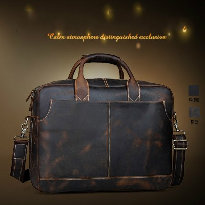 Top Quality Handmade Crazy Horse Leather Laptop Briefcase Satchel Messenger Bag Men Handbag Fashion Crossbody Shoulder Bag Brown