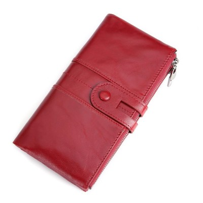2020 Hot Sale Cowhide RFID Wallet Ladies Clutch Women Hasp Zipper Wallet Genuine Leather Female Purse Long Women Wallets Purse Coin