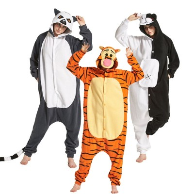 Cozy Pajamas Kigurumi Adult Onesies Bear Skull Cartoon Character Onesies For Halloween One-piece Pijama Tiger Home Parties
