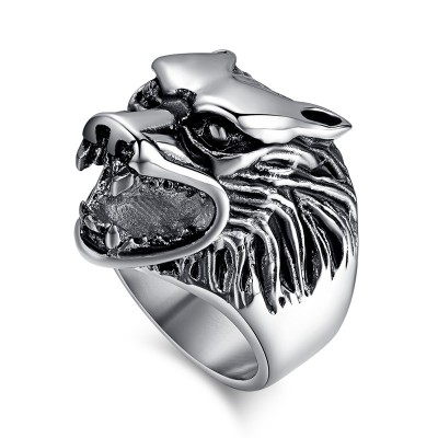 Vintage Mens Ring Stainless Steel Wolf Head Men Biker Jewelry Animal Punk Rock Gift