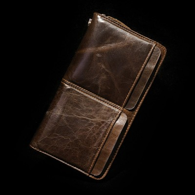 2019 Sale Vintage Sollid Genuine Leather Men Man Cowhide Zipper Wallet Clutch Bag Long Handbags Double Layer Male Purse Real