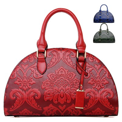 New Flowers Embossed Chinese Style Vintage Fashion Women Shell Bag Leather Women Handbag Ladies Shoulder Bag Women tote bag C030