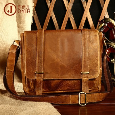 High Quality Small Vintage Crazy Horse Leather Messenger Bags Men's Casual Fashion Leather Crossbody Bag Brand Designer Handbags