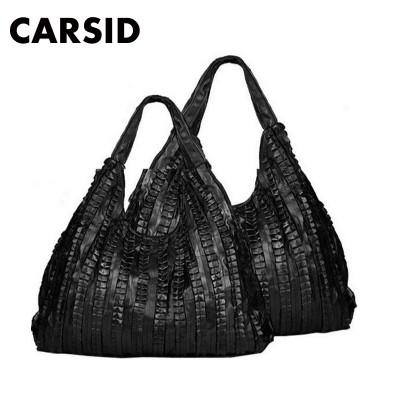 3 Size!! Genuine Leather Bags For Women Ruffle Black Ladies Handbag Sheepskin Shoulder Bag Female