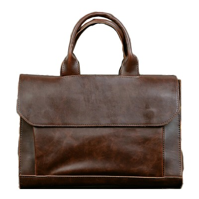 Fashion Men Bag High Quality Crazy Horse PU Leather Handbag Korean Male Bag Men Business Work Bag attache