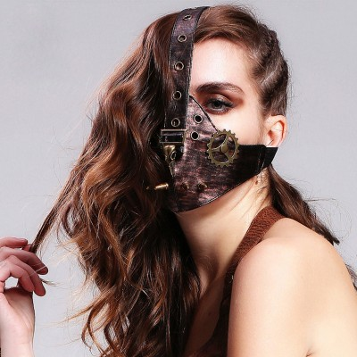 Custom Steampunk Leather Cool Gear Hard Face Mask for Motorcycle Riding Steampunk Masquerade Mask Gothic Steampunk Mouth Mask Cosplay Bike Riding Mask