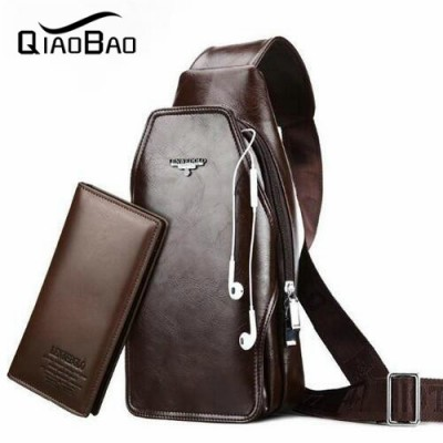 (With Wallet) Brand Logo ! Genuine Leather Men Small Waist Pack Mobile Phone Case Travel Bags Men's Belt Bag Black Brown 21003
