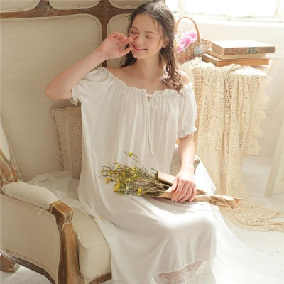 Women Lingerie Sexy Off Shoulder Sleepwear Plus Size White Cotton Short Sleeve Loose Long Home Dress Vintage Nightgown