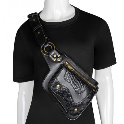 Steampunk Crossbody Chest Bag Men PU Leather Waist Pack Saddle Bag Streetwear Moto Biker Rivets Belt Bag Punk Fashion Bum Bag